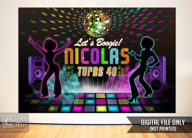 1c25d060d8c1 Disco Retro fiesta cartel neón resplandor bola de discoteca cumpleaños  torta mesa telón de fondo retro bailarines bandera noche de discoteca de  baile ...