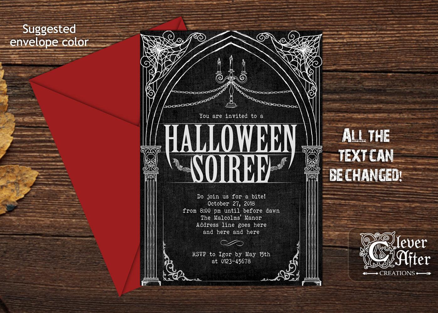 Vampire Invite gothic elegant Halloween ball soiree invitation | Etsy