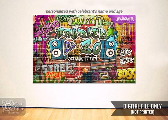 Hip Hop Birthday Party Backdrop Graffiti Wall Poster 80s Vs