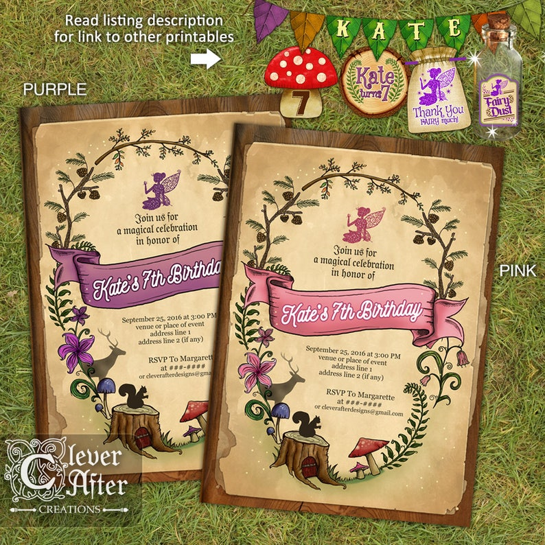 Enchanted Forest Invitation Enchanted Garden Invite Fairy Etsy