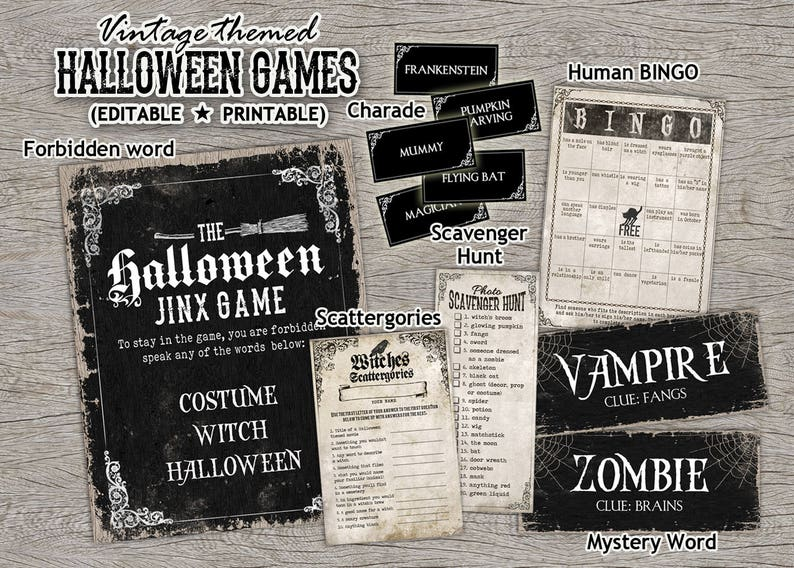 photo about Printable Clue Board Game Cards named Halloween Printable Game titles Witch Celebration Activity Playing cards - entertaining recreation amusement children and grown ups basic witches concept, bingo scavenger hunt
