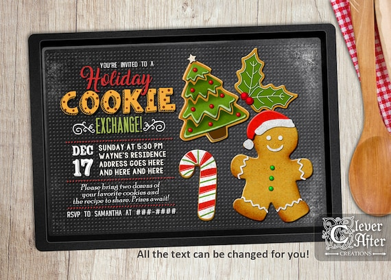 Cookie Exchange Invitation Holiday Cookie Swap Party Invite Etsy
