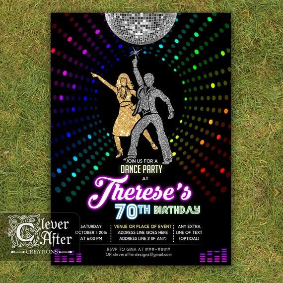 disco invitation 70 s disco dance night party invite neon etsy