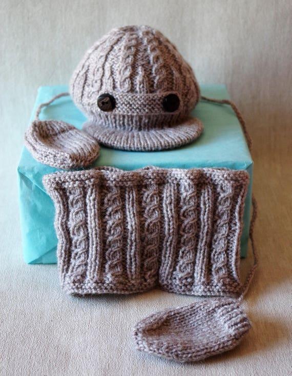 Casquette snood moufles 0   3 mois bonnet chapeau   Etsy b7c7e105f04