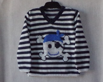 Hand-knitted pirate sweater in white and navy cotton for baby 1 year 12 months sweater knit sweater