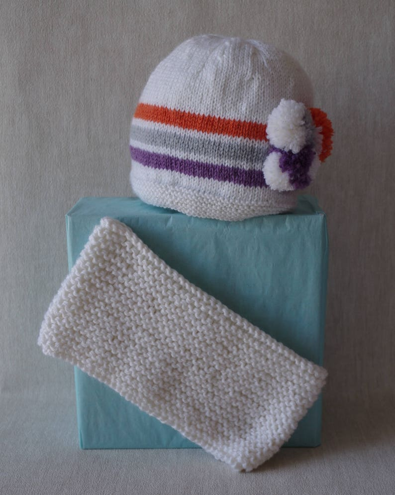 f79325b4d16 Beanie 3 pompoms snood hand knitted 18   24 months hat