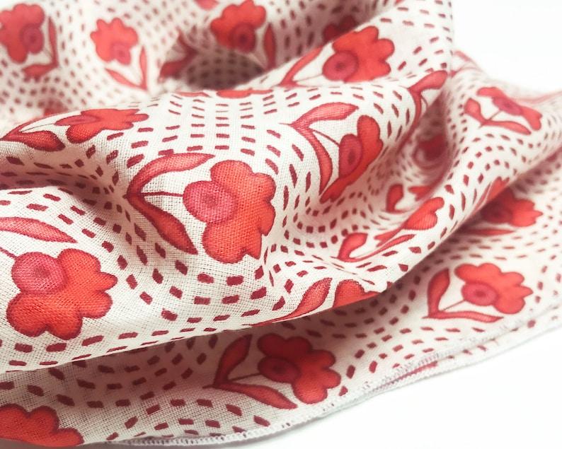 Red Orange Vintage Floral Block Printed Bandana  Scarf  Wrap  Headband  Neckerchief  Neck Tie