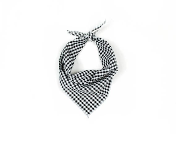 Black and White Checkered Plaid Small Dog Bandana