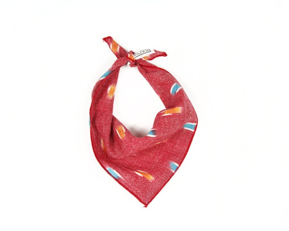 Red Ikat Small Dog Bandana