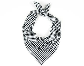 Black and White Checkered Plaid Bandana // Scarf // Wrap // Headband // Neckerchief // Neck Tie
