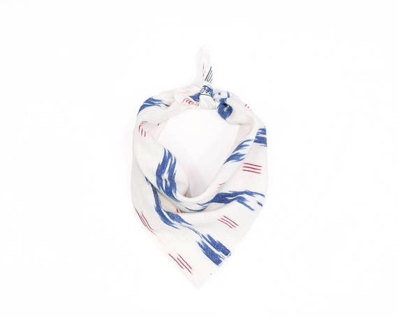 Red White & Blue Ikat Small Dog Bandana
