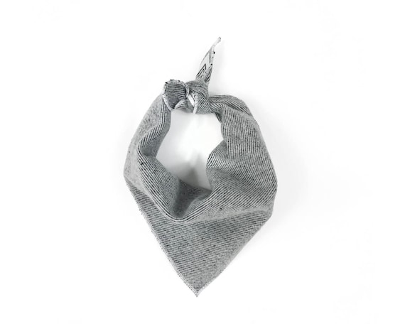 Gray Heather Twill Flannel Small Dog Bandana