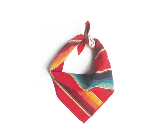 Mexican Serape Stripe Multicolored Small Dog Bandana