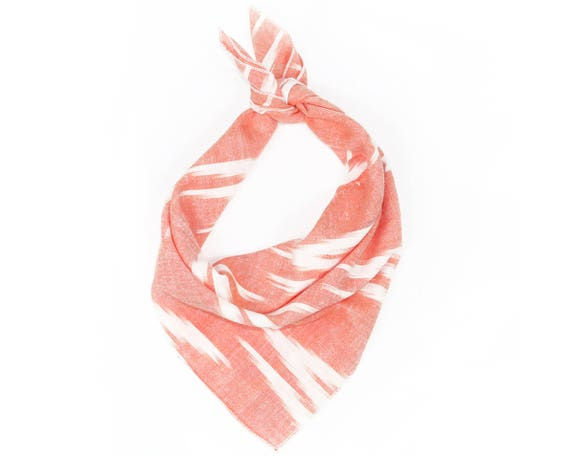 Coral Arrow Ikat Bandana