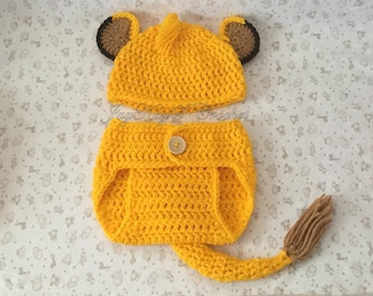 47e82c772e0 Crochet Baby Lion Hat and Diaper Cover Set ~ Shower Gift ~ Newborn-3 Months  Outfit ~ Yellow Halloween Costume ~ Gift for New Mom ~ Handmade