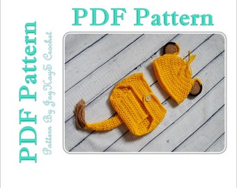 Simba Crochet Pattern Baby Costume Diaper Set Outfit