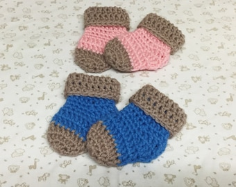 Crochet Baby Socks Twin Sets Pink Blue