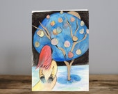 The Girl Without Hands Card - Grimms Brothers tale - Fairytale card - Watercolor - Collage