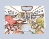Octopus Happy Hour Greeting Card