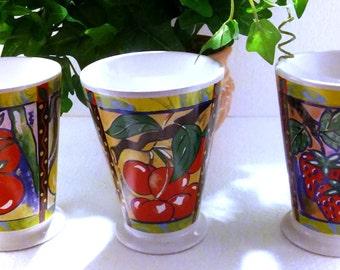 3 Baum Brothers Style Eyes Footed Mug Coffee Tea Cup - 8 oz.