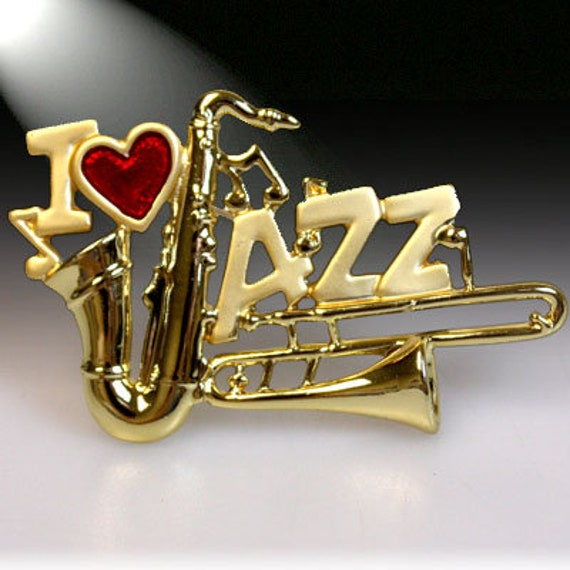 JJ Jonette Jazzy Dog Playing Saxophone 2-Tone Gold and Silver Plated Brooch Pin New Vintage Stock Jazz Sax Gift Beret and Glasses