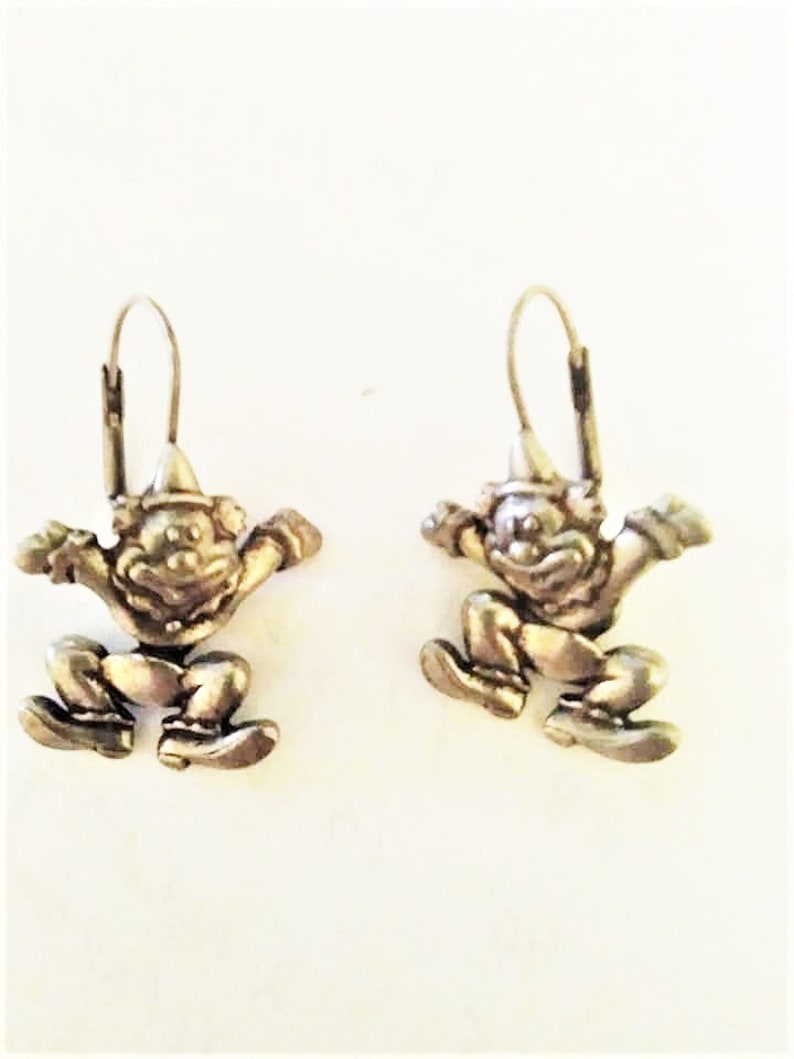Gold OR Silver Plated  NEW Vintage on Card Fun Gift JJ Jonette Happy Dancing Circus Clowns Articulated Leverback Earrings Choice