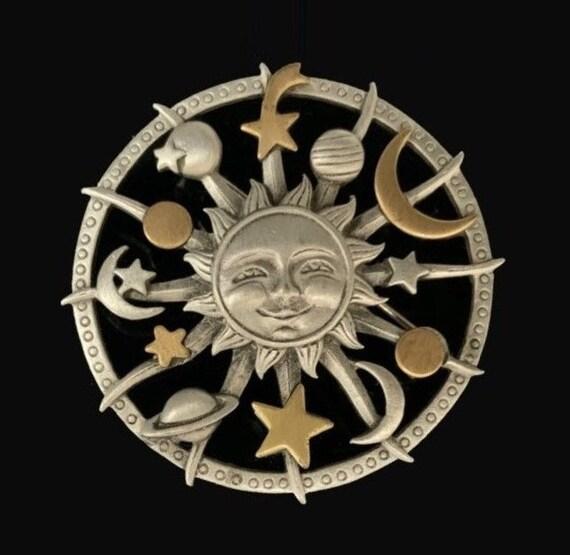 JJ Jonette Celestial Solar System Brooch Pin Silve