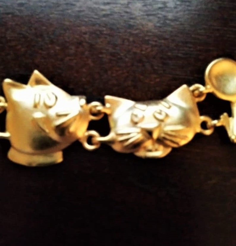 AJC Cat and Mouse Link 7 Bracelet Gold Plated Like New Vintage Stock American Jewelry Chain Company Kitty Kitten Tom Jerry