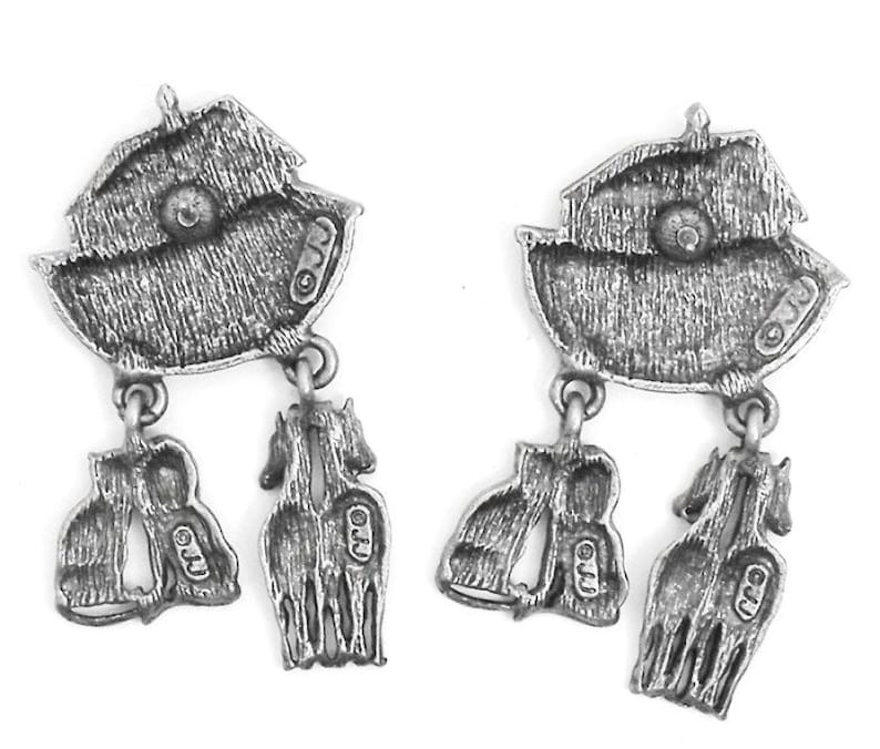 Vintage JJ Noah/'s Ark Earrings Horses Lion and Lioness Charms Pewter NEW old Stock NO card Jonette