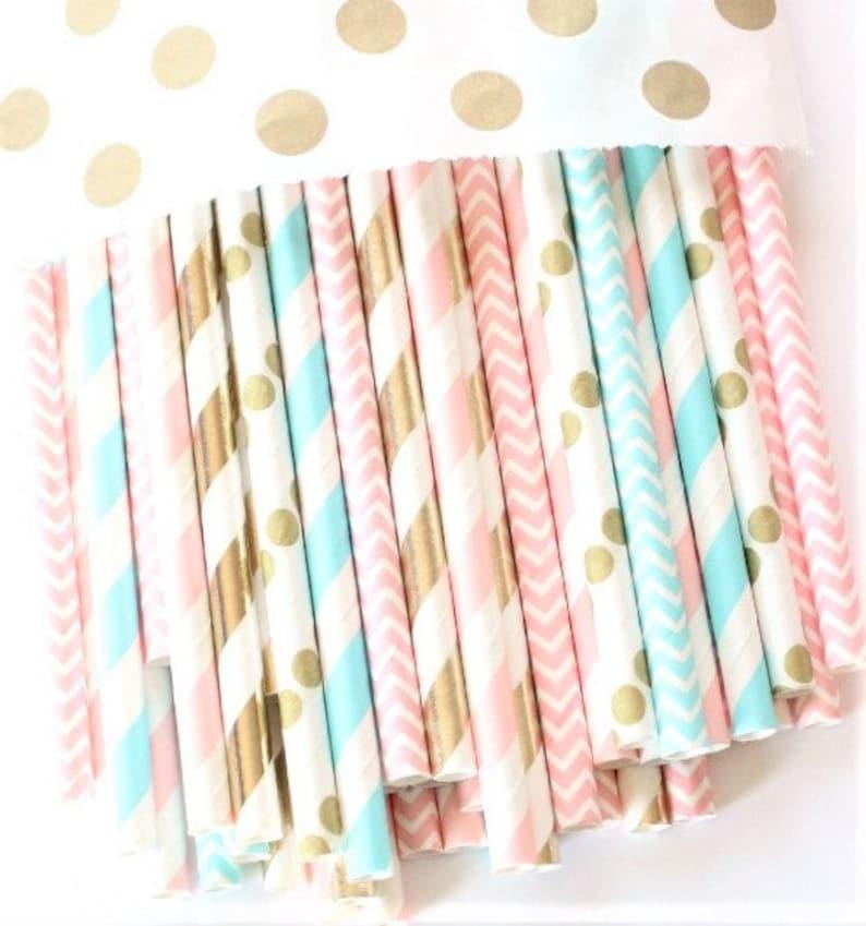 Gender Reveal  Baby Shower Decor Gender Reveal Pink Gender Reveal Baby Shower Blue and Gold  Straws Pink Blue and Gold Straws