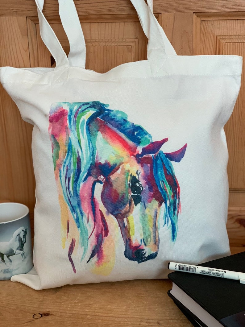 Custom rainbow Horse Eco tote bag made from recycled plastic bottles Horse tote bag Personalised Rainbow Horse