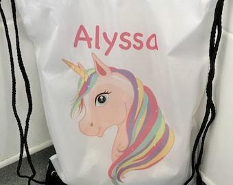 Unicorn gym bag, Swim bag, Drawstring PE gym bag, School swim bag, Drawstring backpack, Personalised gym bag, School gym bag, School PE bag