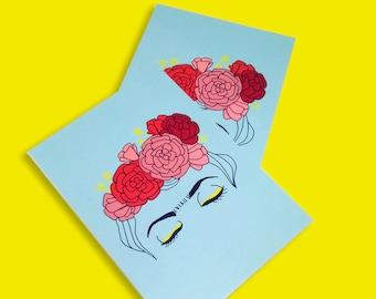 lot 2 cards postcards Frida Kahlo illustration