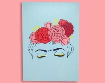 map postcard Frida Kahlo illustration