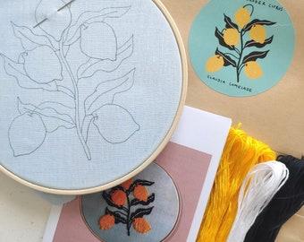 lemon citrus diy embroidery kit