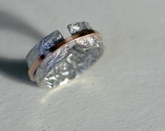 Reticulated Silver Ring with Gold Band
