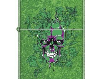 Green Hidden Skull Zippo Lighter