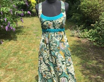 Long green patterned boho dress, maxi summer dress, 100% cotton print dress, vacation dress, hippie, boho style, bohemian