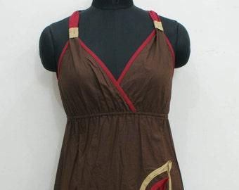 Brown cotton short summer dress