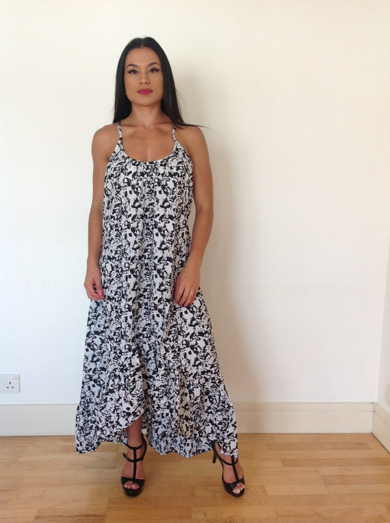 Black and white print summer dress, long cotton dress, cotton boho dress, ethnic print