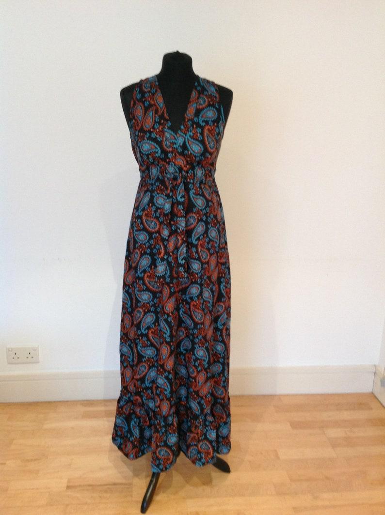 cotton beach dress. Black and turquoise paisley satinsilk dress long summer dress vacation wear hippie dress