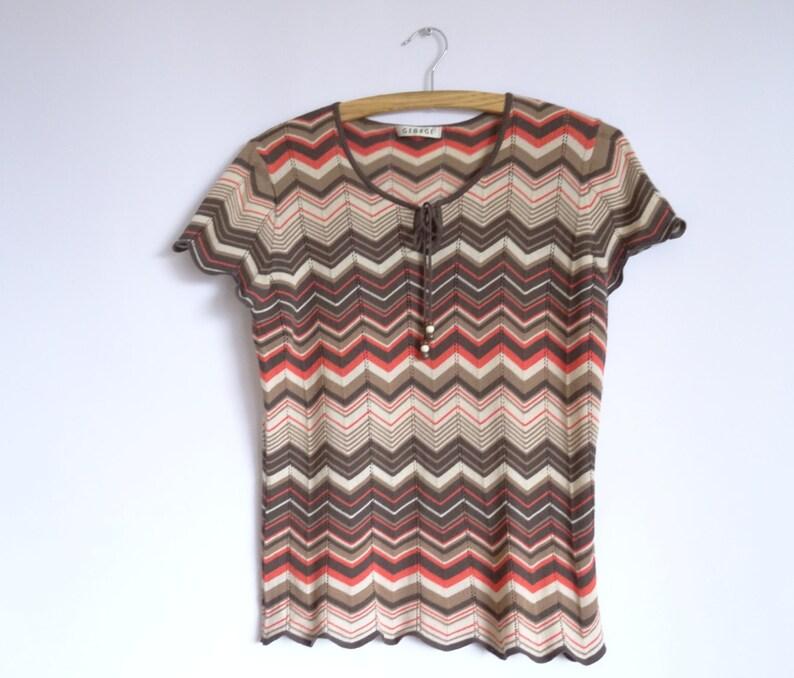 Vintage Women/'s Top Top Red Brown Beige Dark Brown Striped  Knitted Top Short Sleeved Size:Medium  Large