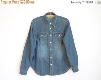 ON SALE Blue Denim Shirt Men's/Vintage Denim Shirt /Metal Button shirt/  Men's Denim Shirt/ Work Denim Shirt/Size: Medium to Large