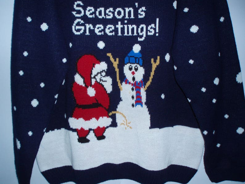 Vintage Dark Blue Sweater  Sweater with Santa Claus and Snow Man in the front  Sweater with lining  Large Sweater