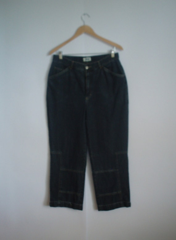 Vintage Dark Blue Jeans Capri Pants With Metal But
