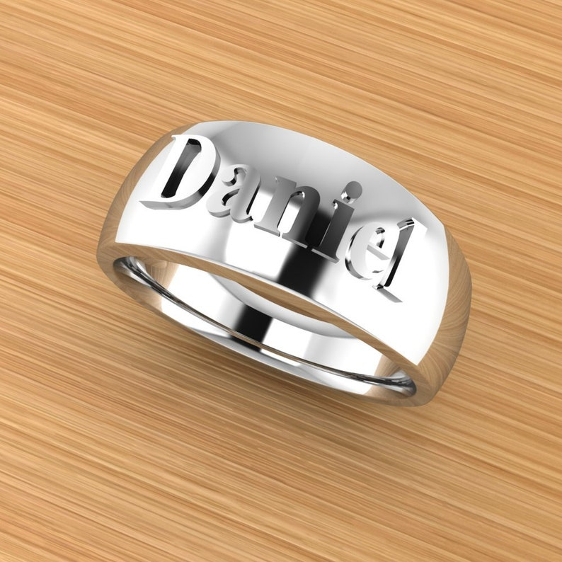 Personalized Raised Letters Heavy Wedding Band Custom Name Men\u2019s Ring Customized Father\u2019s Day Gift Jewelry for Him
