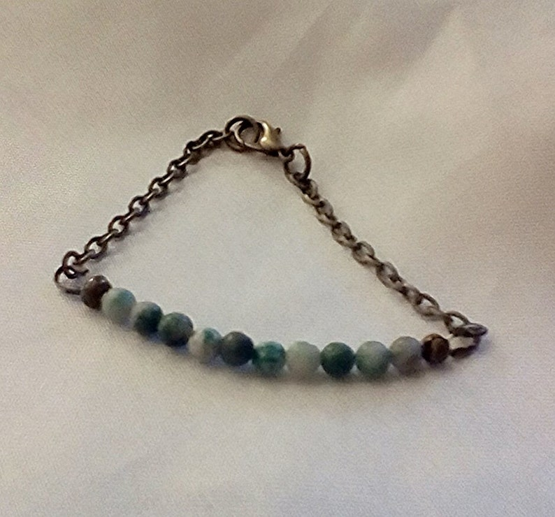 Bronze bracelet jade bracelet Christmas gift stocking filler jade beaded bracelet UK seller ching hai jade bracelet bar bracelet green beads