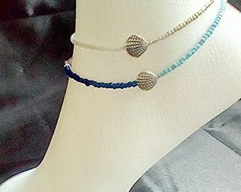 Seed bead anklet, beach jewellery, sea shell anklet, beach anklet, summer jewellery, beaded anklet, blue seed bead anklet, shell jewellery