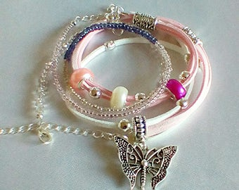 Faux suede wrap bracelet pink suede seed bead bracelet charm bracelet butterfly charm multi strand bracelet beaded bracelet bracelet set