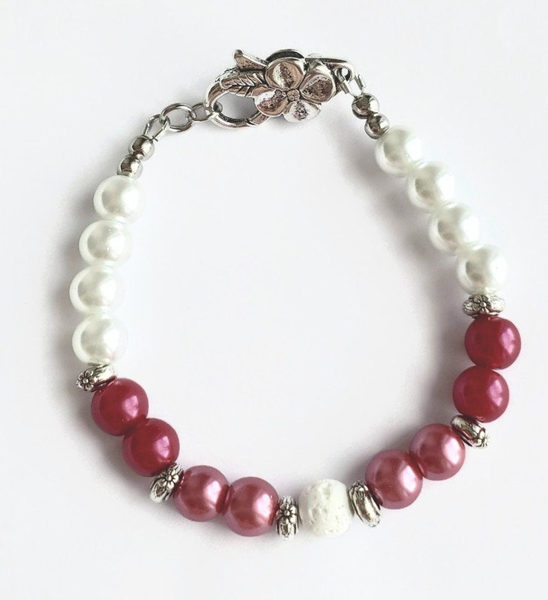 cherry and white rose white volcanic stone stainless steel,aromatherapy flower Pink glass beaded bracelet and earrings